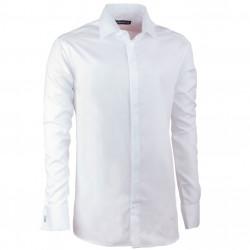 Predĺžená košeľa na manžetový gombík regular biela Assante 20025