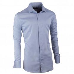 Košeľa na manžetový gombík slim šedomodrá Assante 30137