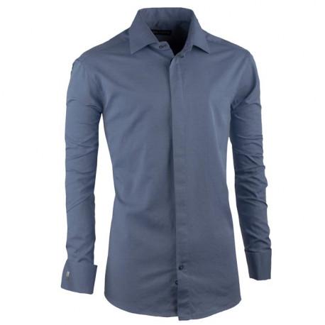 Košeľa na manžetový gombík oceľovo modrá slim Assante 30425