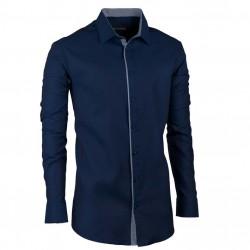 Predĺžená pánska košeľa slim modrá indigo Assante 20405