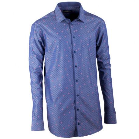 Predĺžená pánska košeľa rovná modro modrá Assante 20798