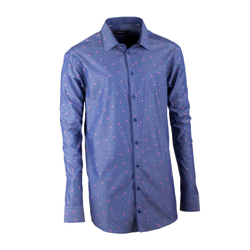 c83a89ce7746 Predĺžená pánska košeľa rovná modro modrá Assante 20798