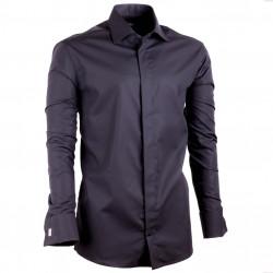 Predĺžená košele na manžetový gombík slim fit čierna Assante 20110