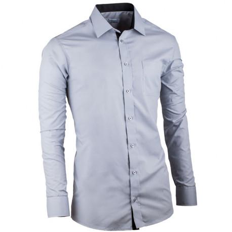 Predĺžená košeľa slim fit šedá Aramgad 20112
