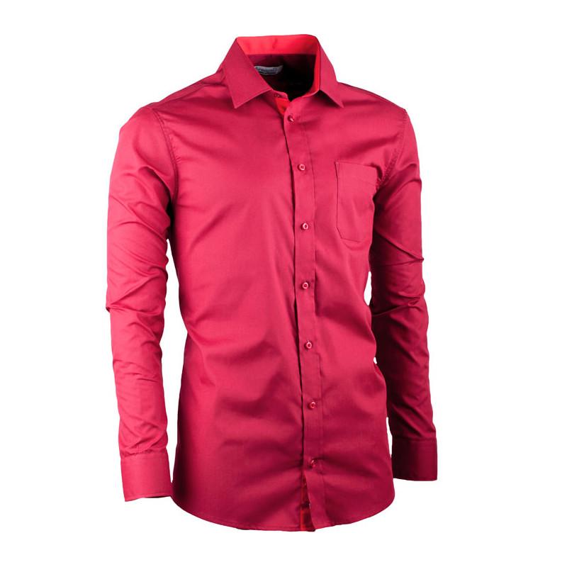 74c241372244 Predĺžená pánska košeľa slim fit bordó Aramgad 20307