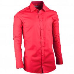 Predĺžená pánska košeľa slim fit červená Aramgad 20308