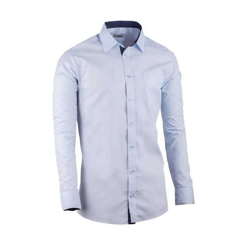 01348572635e Predĺžená pánska košeľa slim fit modrá Aramgad 20506