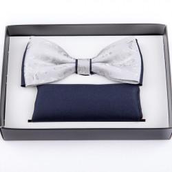 Sivý svadobný motýlik s vreckovkou Assante 90240