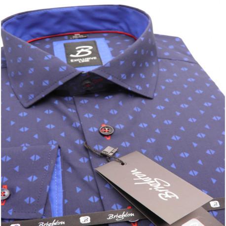 c50faeb74d0b Modrá pánska košeľa dlhý rukáv vypasovaný strih Brighton 109969
