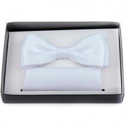 Svadobný motýlik biely s vreckovkou Assante 90251