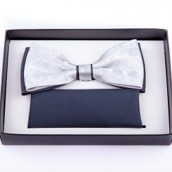 Strieborný svadobný motýlik s vreckovkou Assante 90252