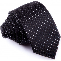 Čierna bodkovaná slim fit kravata Greg 91196