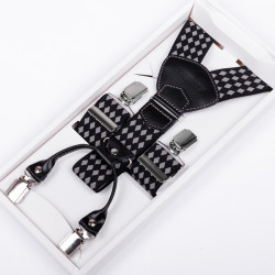 Luxusné traky sivočierne kožená pútka Assante 90038