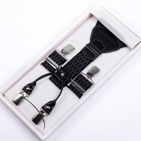 Luxusné čiernosivé traky kožená pútka Assante 90046