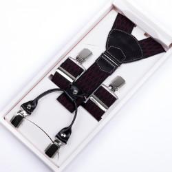 Luxusné traky čiernočervenej kožená pútka Assante 90047