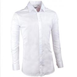 Pánska svadobná košeľa biela vypasovaná slim fit Aramgad 30046