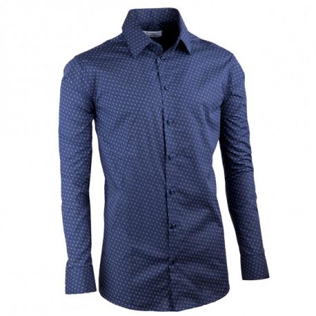 5ccabadd9eb0 Tmavo modrá elegantná košeľa vypasovaná slim fit Aramgad 30432