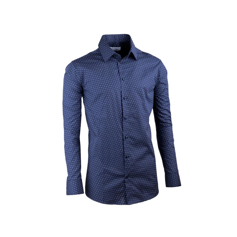 71562c6b732e Tmavo modrá elegantná košeľa vypasovaná slim fit Aramgad 30432