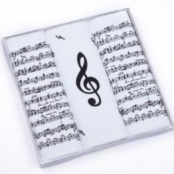 Hudobné biele vreckovky noty a husľový kľúč Etex 90600