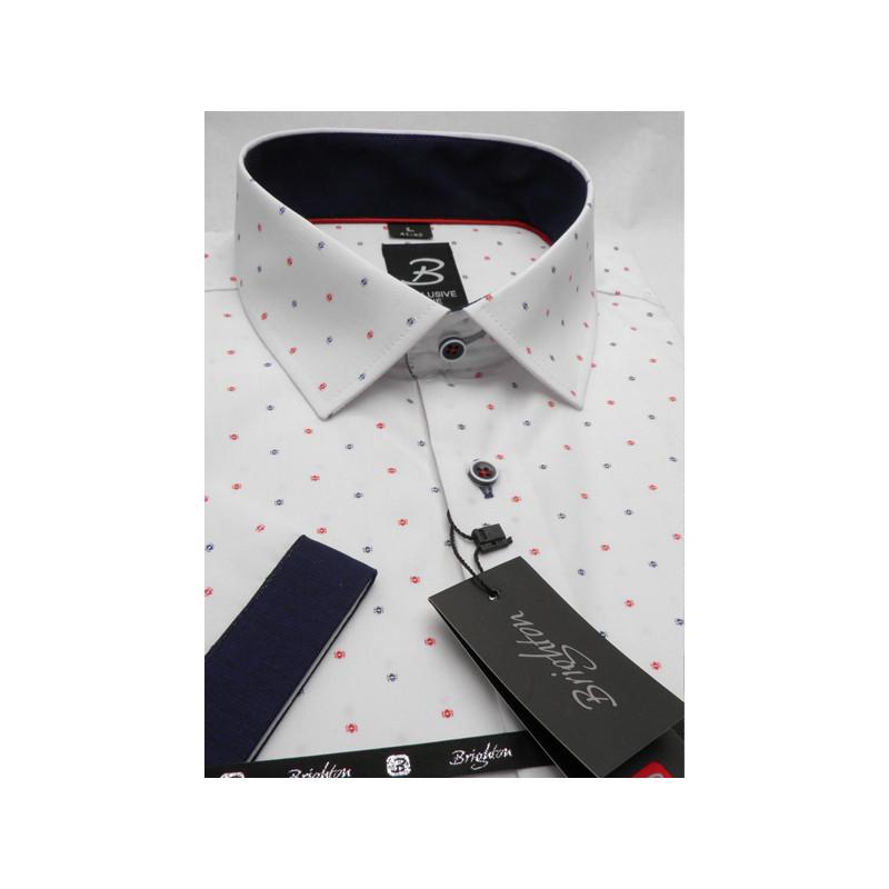 4c79bf136ded Modročervená pánska košeľa s krátkym rukávom rovný strih Brighton 109980