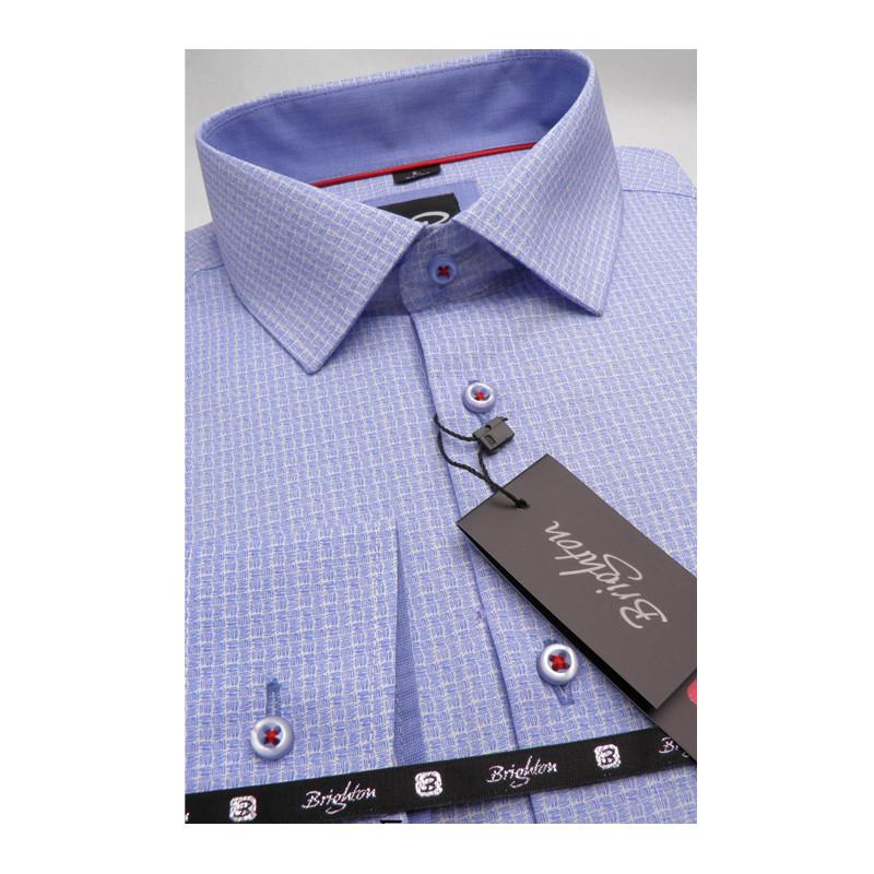 164a5b6124c3 Modrá pánska košeľa dlhý rukáv s podšitým golierom Brighton 109991