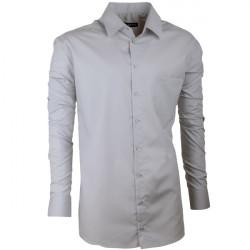 Predĺžená pánska košeľa slim fit šedá Assante 20118