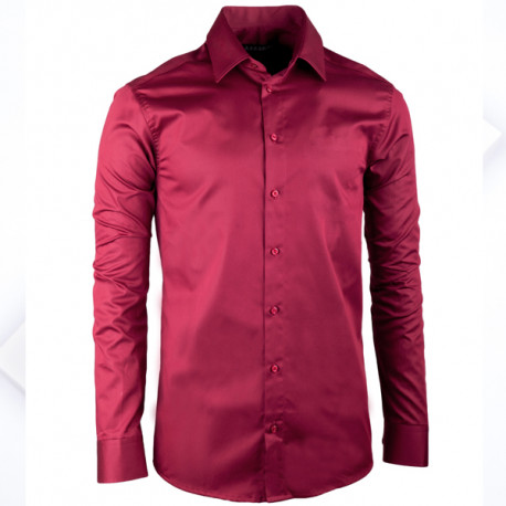Predĺžená pánska košeľa slim vínovočervená Assante 20315