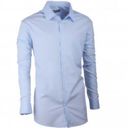 Predĺžená pánska košeľa slim modrá Assante 20411