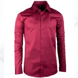 Extra predĺžená pánska košeľa slim fit vínovo červená Assante 20314