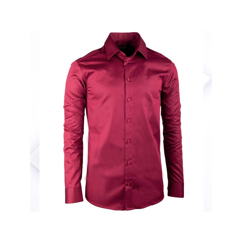42decfb6719a Extra predĺžená pánska košeľa slim fit vínovo červená Assante 20314