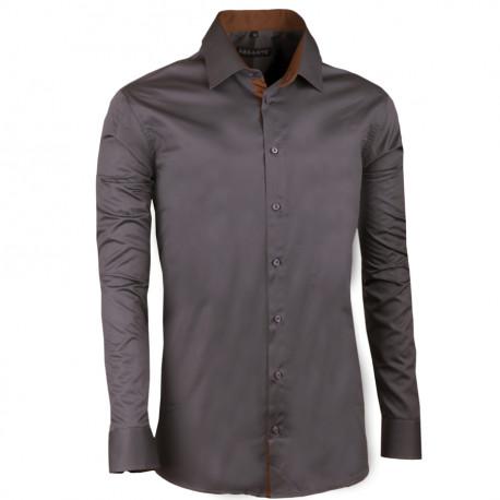 Tmavosivá pánska košeľa slim 100% bavlna non iron Assante 30185
