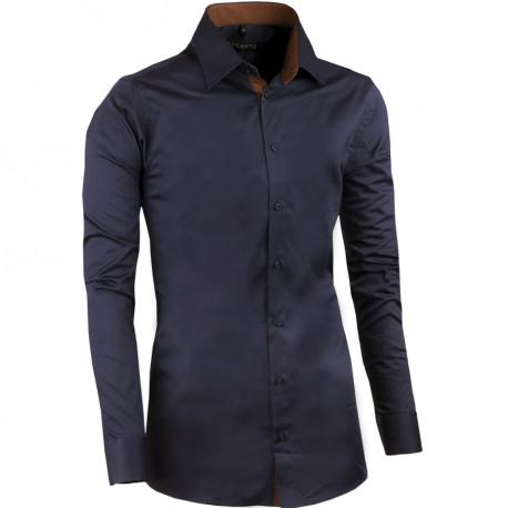 Predĺžená pánska košeľa slim slivkovo modrá Assante 20408