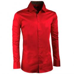 Predĺžená pánska košeľa slim karmínová Assante 20309