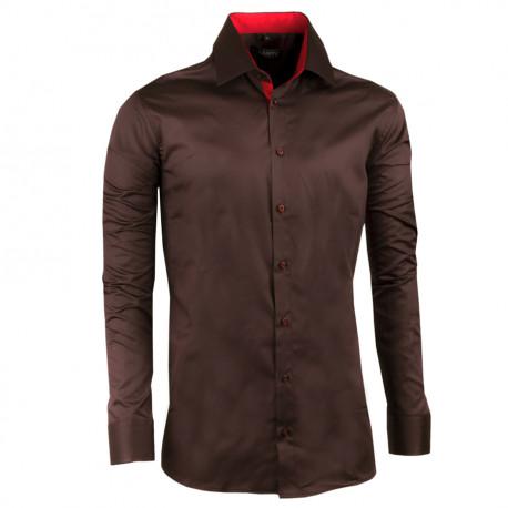 Predĺžená pánska košeľa slim tmavo hnedá Assante 20211