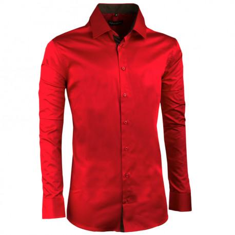 Extra predĺžená pánska košeľa slim fit karmínová Assante 20311