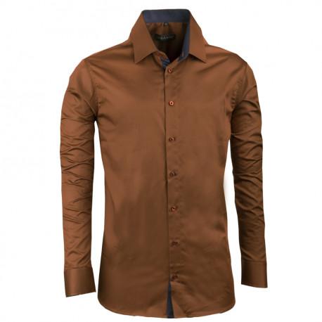 Extra predĺžená pánska košeľa slim fit bronzová Assante 20212