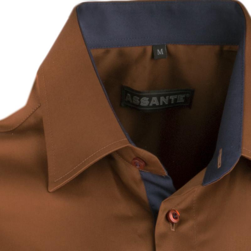 44da8b34cd16 ... Extra predĺžená pánska košeľa slim fit bronzová Assante 20212 ...