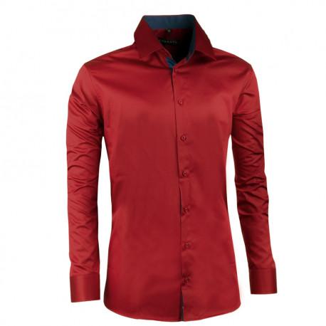 Extra predĺžená pánska košeľa slim fit tmavo červená Assante 20312
