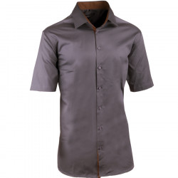 Pánska tmavo sivá košeľa slim krátky rukáv 100% bavlna non iron Assante 40145