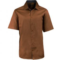 Pánska bronzová košeľa slim krátky rukáv 100% bavlna non iron Assante 40241