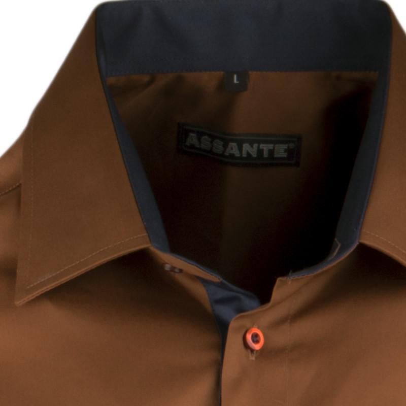 892cbd8c95fb Pánska bronzová košeľa slim krátky rukáv 100% bavlna non iron Assante 40241