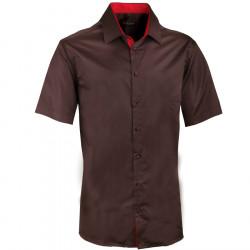 Pánska vínova košeľa slim krátky rukáv 100% bavlna non iron Assante 40242