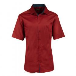 Pánska tmavo červená košeľa slim krátky rukáv 100% bavlna non iron Assante 40342
