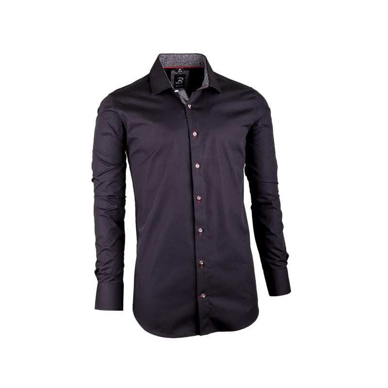 e70911b64139 Čierna pánska košeľa slim fit 100% bavlna Brighton 109949