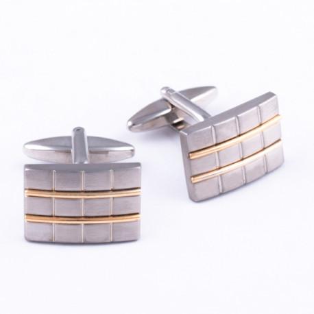 Manžetové gombíky zlato-striebornú farby Assante 90534