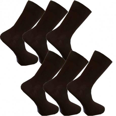 Multipack ponožky 6 párov hnedé antibakteriálne so striebrom Assante 721