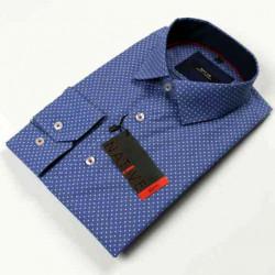 Modra pánska košeľa dlhý rukáv vypasovaný strih Native 120005