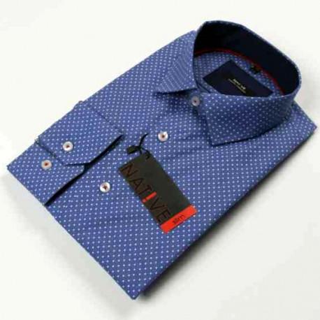 fbc95b9ab1d0 Modra pánska košeľa dlhý rukáv vypasovaný strih Native 120005