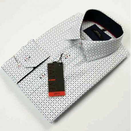 58cfa5c1764d Biela pánska košeľa dlhý rukáv vypasovaný strih Native 120007