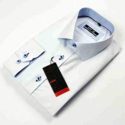Nadmerná biela pánska košeľa dlhý rukáv rovný strih Native 120504